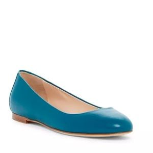 Sergio Rossi Blue Leather Ballerina Shoes Sz 9